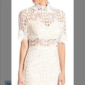 Pink/blush Soieblu mockneck crochet lace dress